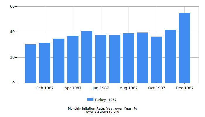 1987 Turkey Inflation Rate: Year over Year