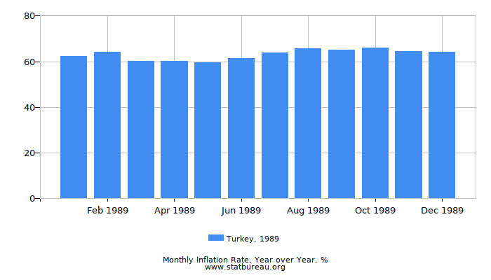 1989 Turkey Inflation Rate: Year over Year
