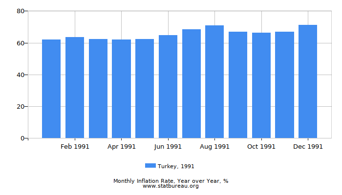 1991 Turkey Inflation Rate: Year over Year
