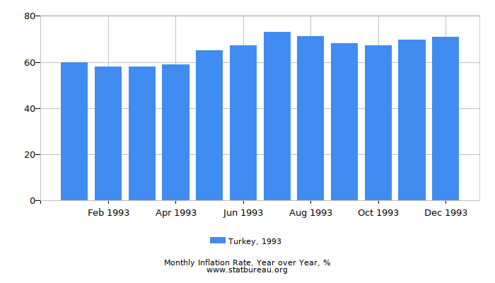 1993 Turkey Inflation Rate: Year over Year