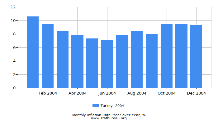 2004 Turkey Inflation Rate: Year over Year