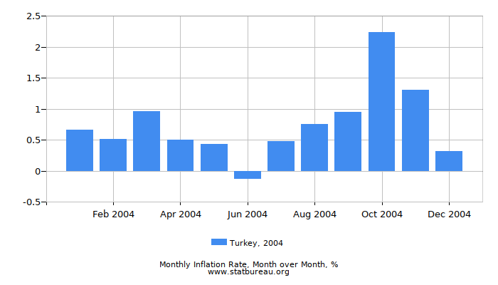 2004 Turkey Inflation Rate: Month to Month