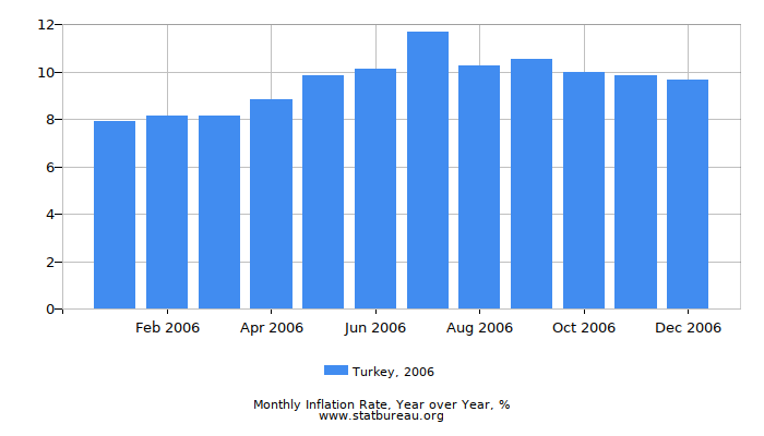 2006 Turkey Inflation Rate: Year over Year