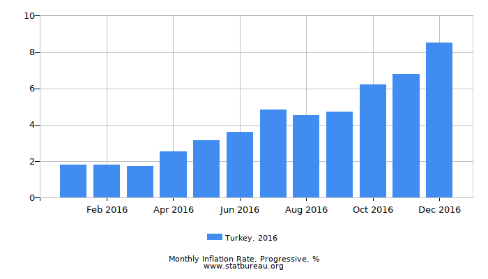 2016 Turkey Progressive Inflation Rate