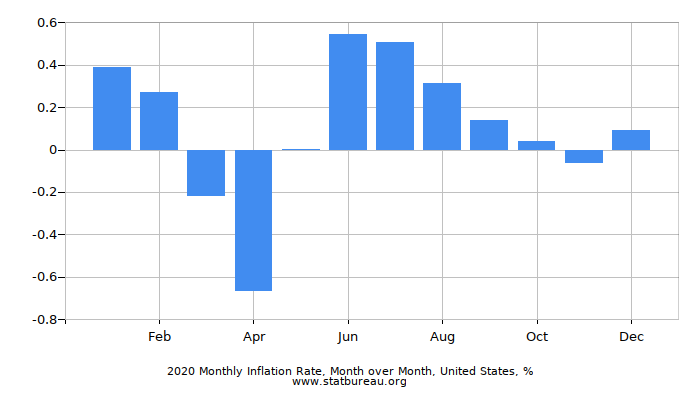 2019 Monthly Inflation Rate, Month over Month, United States